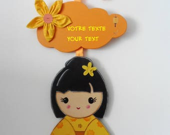 """Door plate, Asian decoration """"Chinese doll"""" - yellow and orange"""