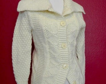 Vintage Ivory Button Cardigan Sweater