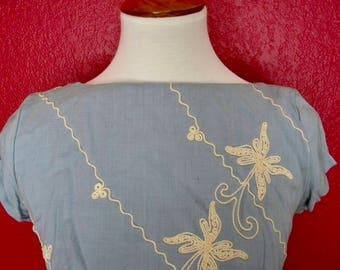 Vintage Embroidered Sheath Dress w/ Pleated Skirt