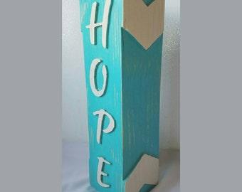 Wood Block Letters, Large Wood Block Letters, Hope, Rustic Wood Block, Wood Pedestal, Chevron Wood Block