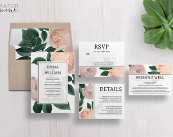 Wedding Invitation | Floral Wedding Invitation Suite | Floral Invitation | Vintage Flower Invitation | Printed Wedding Suite | Scarlett