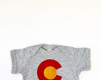 Only ONE available!! COLORADO Hand Screen Printed Baby Bodysuit - Size NB (Newborn)