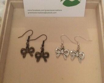 Bronze/Silver Bow Earrings