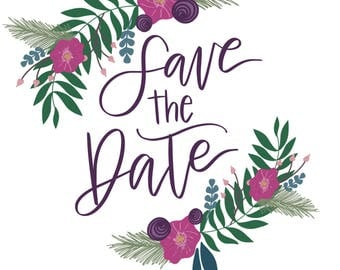 Floral Save the Date digital file