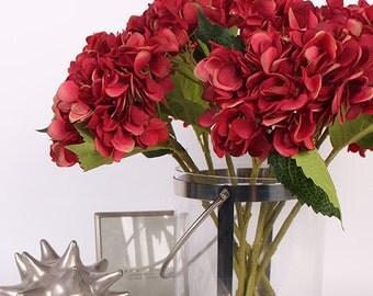 "Luxury Silk Hydrangea Stem in Red 18"" Tall"