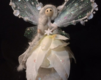 Winter Fairy Doll, Snow Fairy, White Flower Petal Fairy, Fairy Doll, Handmade, Fairy Garden , Flower Fairy, Miniature, Whimsical Collectible