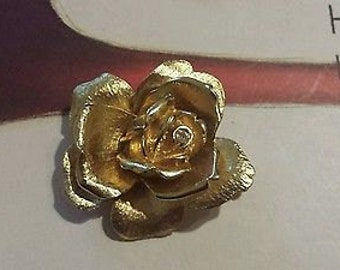 Vintage Large Gold Tone Rose Brooch with Rhinestone - Free US Shipping