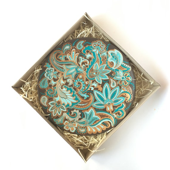 15% OFF Spring Sale Decorative plate Turquoise wall hanging