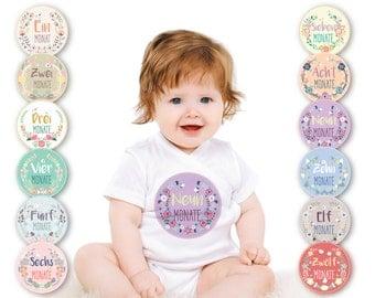 Paul & Gretchen Baby Monatsaufkleber für das 1. Lebensjahr (Deutsch) - Blümchen