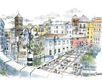 Painting architecture Genoa, Giardini Luzzati, italian city drawing, colorful houses watercolor, lively place drawing, italy illustration