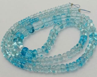 """Natural SKY BLUE TOPAZ smooth beads,Rondelles beads , 3 mm - 8 mm ,16"""" strand [E0530]shaded blue topaz beads"""