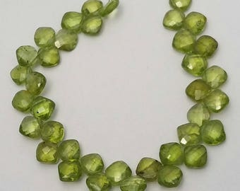 """Amazing quality natural PERIDOT faceted cushion shaped beads ,Peridot beads , 7 mm Approx, 6""""strand [E0626] Peridot faceted beads"""