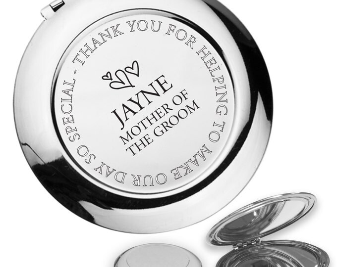 Personalised engraved MOTHER OF the GROOM compact mirror wedding thank you gift idea, handbag mirror - FL7