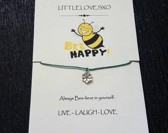 Flower bracelet, flower jewellery, wax cord bracelet, adjustable bracelet, gifts for her, gifts for him, gifts for teens, flower gifts