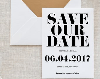 Printable Modern Save the Date, Simple Save The Date, Save the Date Card, Minimalist Save The Date, Simple Save the Date JPG & PDF (001)