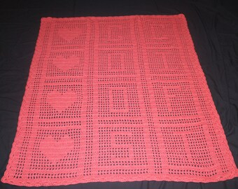 "Coral ""Gods Gift"" Crocheted Baby Afghan Throw Blanket"