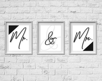 "8""x10"" SET OF 3- Mr. & Mrs. Prints"