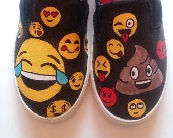 Emojis hand painted shoes