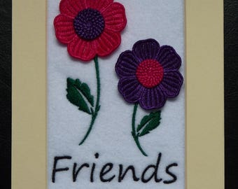 Handmade Embroidery & Freestanding Lace Picture Art Friends Flowers 7 x 5