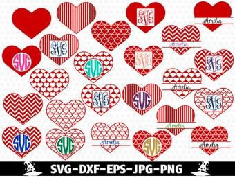 Heart svg Valentines Monogram SVG