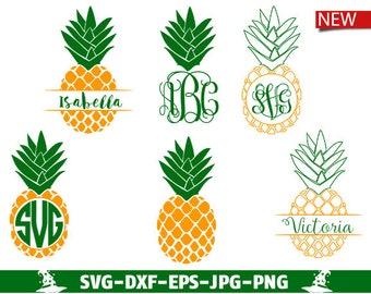 Pineapple SVG Cut Files Monogram Frames  Summer Monogram Pineapple SVG Files Pineapple Monogram Svg Pineapple Monogram Frames