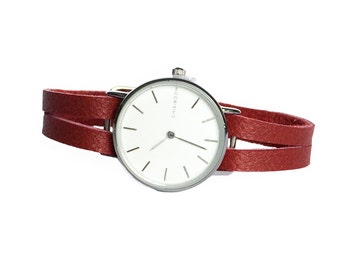 Delicate red leather women's watch - watch delicate red woman