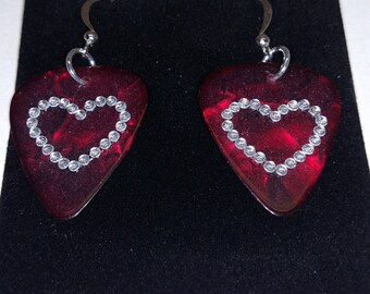 Diamond Heart Guitar Pick Earrings