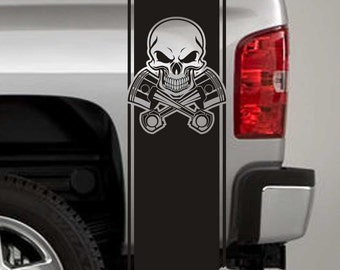Truck Bed Stripe Decals - Skull and Pistons Stickers - Universal Fit (Pair x2)