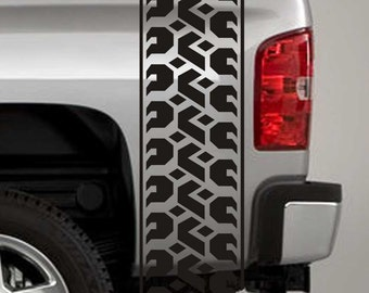 Truck Bed Stripe Decals - Tire Tread Stickers - Universal Fit (Pair x2)