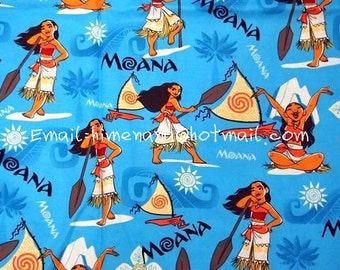 gz1603 - 1 Yard SDLP Cotton Woven Fabric - Cartoon Characters, Disney Princess, Moana Waialiki - Blue (W140)