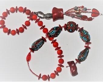Red Porcelain Baha'i Prayer Beads