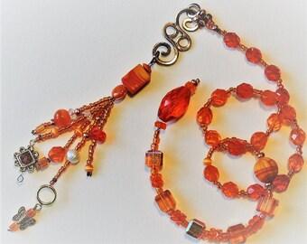 Orange Crystal Baha'i Prayer Beads