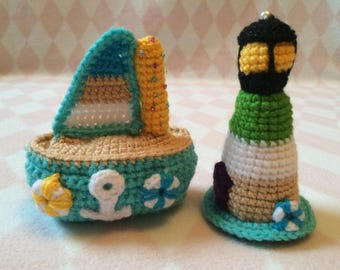 Crocheted Sailboat and Lighthouse Set
