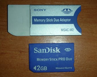 Sony MSAC-M2 Memory Stick Duo Adapter   &  2GB Memory Stick Pro Duo Card