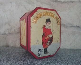 Old Metal advertising box English UNION CHOCOLATES