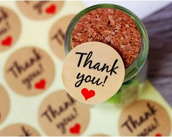 "60 Pcs ""Thank You"" Kraft Stickers"