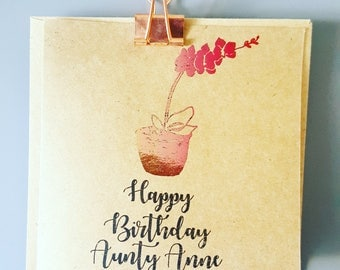 Personalised Orchid Happy Birthday Card