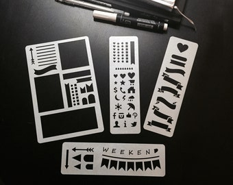 Set of 4 stencils, Bullet Journal Stencil, Planner Stencil, Bullet Journal, Bullet Journal template