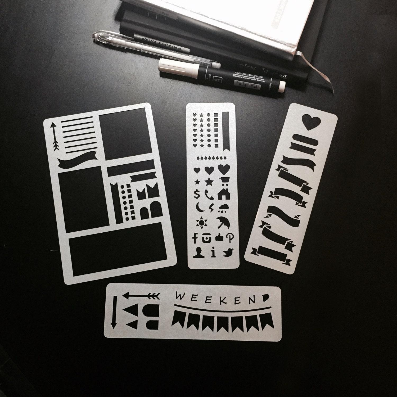 Set Of 4 Stencils Bullet Journal Stencil Planner Stencil