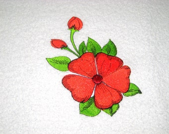 Red Flower Embroidered Hand Towel