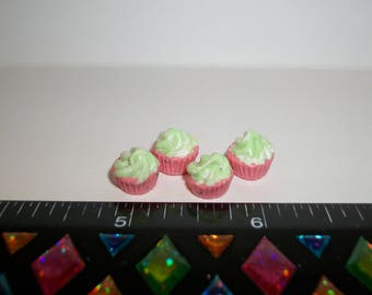 1:6 Play scale Dollhouse Miniature Handcrafted 4 Watermelon Cupcakes Dessert Doll House Food 938