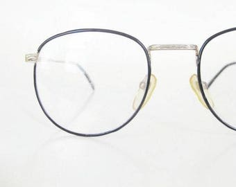 vintage wire rim round eyeglasses black gold filigree 1980s p3 eyeglass glasses frames deadstock nos new old stock