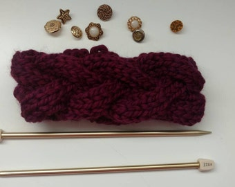 Berry cable knit headband
