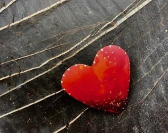 Valentine copper heart pin w/ Xs