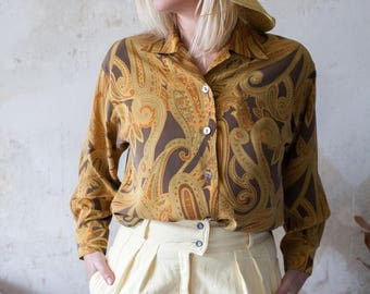 Vintage 70s Brown and Yellow Psychedelic Print Shirt