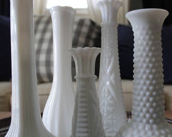 Vintage Milk Glass Vases, Set of 5 vases Wedding Centerpiece/ Bridal Shower
