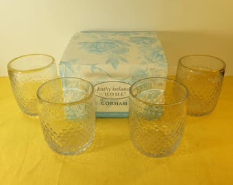 Vintage Gorham Kathy Ireland Coronado Glasses (4), Double Old Fashioned Glasses, 13 oz. Glasses, Ireland Home 4 Glasses in Original Box