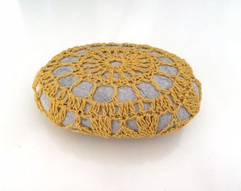 Lace stone made in Italy, yellow mustard Crochet Covered Stone, Valentine's Day, Paperweight, Home Decor, Beach Wedding favor, colletion