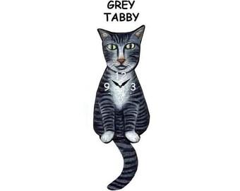 grey tabby cat clock