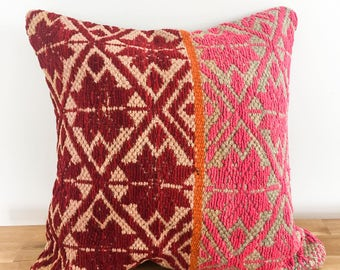 Red and pink pillow case,peruvian handmade pillow decorative, Colors ands stripes, embroidered, ethnic and fair trade. From Cuzco Peru.